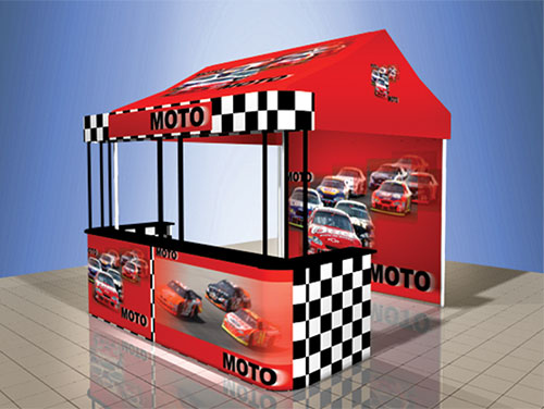 outside kiosk tent moto event frame