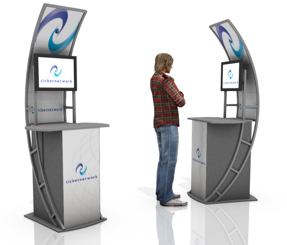 Video Station kiosk with work surface marketing event