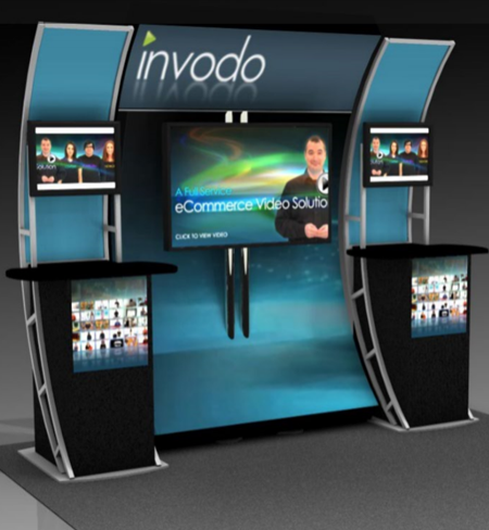 large media kiosk standing for racing event