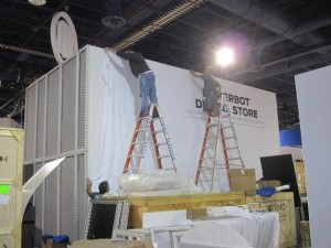 assembly of a rented & custom trade show display