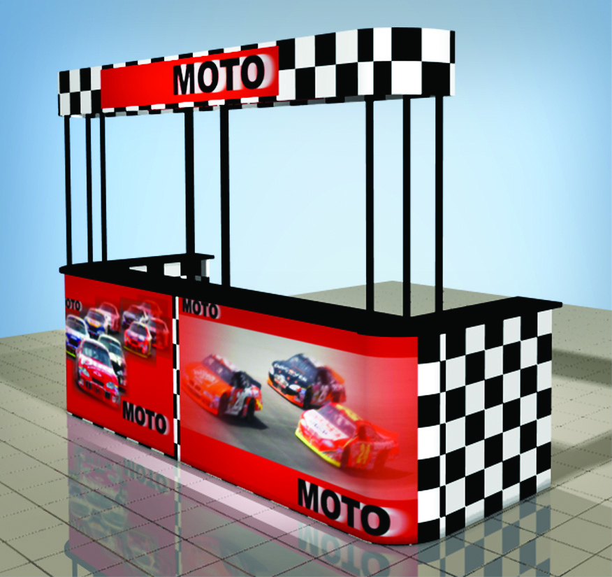 trade show moto event counter frame
